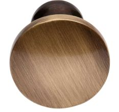 Handmade Round Distressed Brass Cabinet Knob In Antique Gold Color