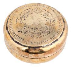 Round Handcrafted Brass Storage Box