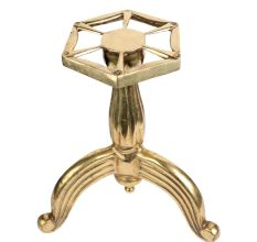 Ribbed Brass Three Legged Stand For Home Decoration