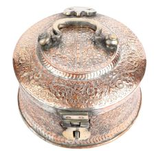 Hand Crafted  Round Copper Paan Daan Floral Design Gift