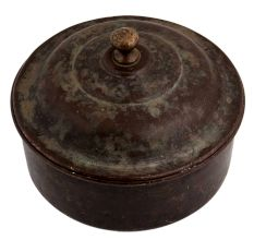 Round Brass Bread Box With Lid And Knob Finial