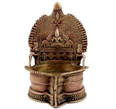 Brass Puja Gajllaxmi Vilakku Oil Lamp For Home Decoration