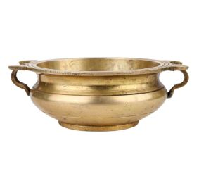 Golden Handmade Brass Uri Bowl For Decorating Offering