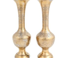 Brass Floral Carved Vase For  Flower Arrangement In Pair