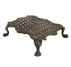 Old Used Brass Grater Scalloped Edges With Four Legs