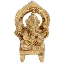 Brass Ganesha Idol Blessing Sitting On Chowki