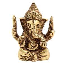 Brass Ganesha Statue Sitting On Chowki Chaturbhurj Pose