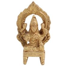 Brass Maha Laxmi Goddess Statue On Throne With Prabhavali