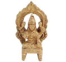 Brass Maha Laxmi Goddess Statue On Throne With Prabhavali