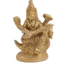 Brass  Goddess Saraswati Statue On Swarn Playing Veena