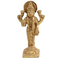 Brass Goddess Laxmi Statue On Lotus Base