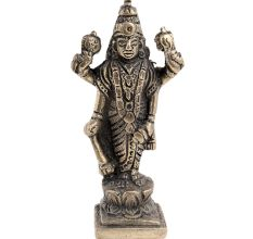 Brass  Lord Jaganath Vishnu Statue Standing On A Lotus Base
