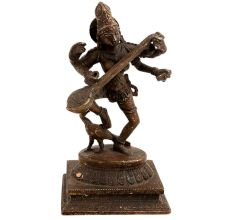 Brass Saraswati Idol On Peacock Playing Veena