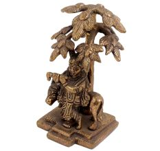 Brass Lord Krishna Statue Playing Flute Under Kadamba Tree