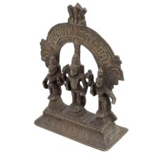Brass Statue Of lord Vishnu Prabhavali  Two Consorts  Deivanai and Valli