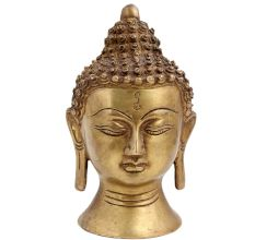 Intricately Carved Brass Buddha Head Statue