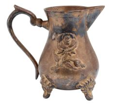 Fancy  Brass Jug Or Pitcher Embossed Rose Design and three decorative legs