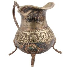 Hand Crafted Brass Floral Jug Or Pitcher With Three Legs