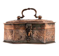 Copper Jewelry Box With Floral Kashmiri Repousse Artwork