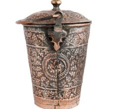 Copper Bucket Decorated Repouse design With Lid