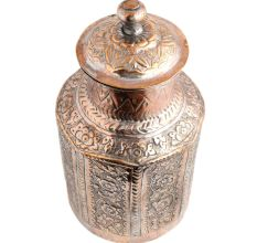 Copper Storage Box Chased Leafy  Design Knob Finial Lid