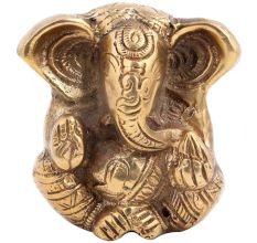 Brass Engraved Sitting Worship Ganesha Statue