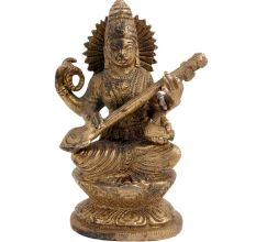 Brass Goddess Saraswati Playing Veena Statue