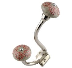 Pink Round Crackle Ceramic Silver Iron Hook