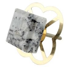 Grey Black Square Stone Cabinet Knob
