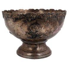 Vintage Embossed Rose  Brass Pedestal Bowl