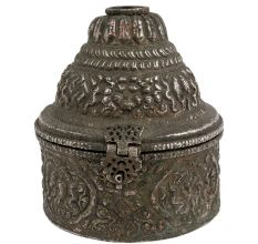 Round Embossed Indian Copper Storage Box Silver Plated