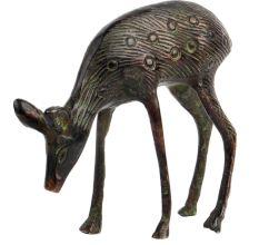Engraved Brass Standing Deer Statue