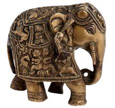 Engraved Brass Elephant Statue Trunk Up Showpiece