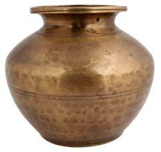 Hand Beaten Brass Water Storage Pot For Worship