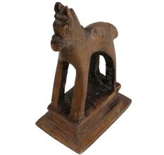Brass Tribal Horse Figurine Statute On Rectangular Base