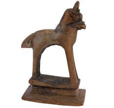 Brass Tribal Horse Figurine Statute On Rectangular Base