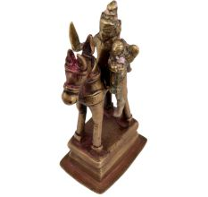 Brass Warrior With Consort Statue On Platform For Decoration