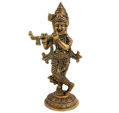 Golden Lord Krishna statue playing a flute Worship Statue