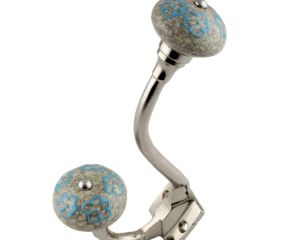 Sky Blue Floral Crackle Ceramic Silver Iron Hook