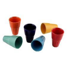 Decorative Handcraft Ceramic Multicolour Tea Cups in Set of 6