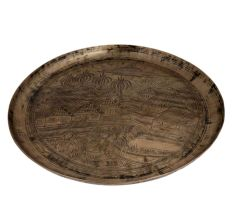Tray engraved with village South India Farming Scene Paddy Fields In Bell metal