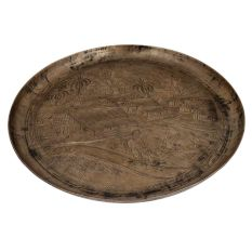 Vintage Bell metal Tray or Plate With  Engraved Paddy Cultivation Scene