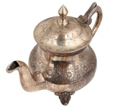 Brass Tea Pot Silver Polish Rare And Unique Floral Design