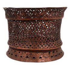 Hand Carved Copper Jali Work Tea light Holder For Religious Purpose
