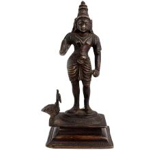 Brass Kartikey With Peacock Religious Statue