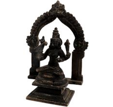 Brass Figurine Sitting In Prabhavali And Bird