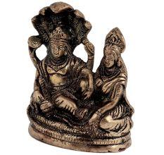 Brass Lord Vishnu With Goddess Laxmi resting On Sheshnag Showpiece