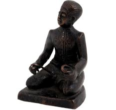Brass English Gentlemen Sitting Statue Holding Twisted rods