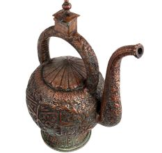 Copper Islamic Decoration Round Tea Pot With Handle And Spout