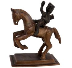 Brass Rani Laxmibai On Horse Statue